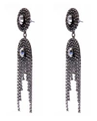 DANNIJO - Metallic Oxidised Silver Paltrow Swarovski Drop Curtain Earrings - Lyst