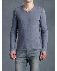 John Varvatos - Blue Long Sleeve V-Neck Sweater for Men - Lyst
