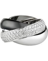 Cartier | Metallic Trinity De 18ct White-gold, Diamond Pave And Ceramic Ring | Lyst