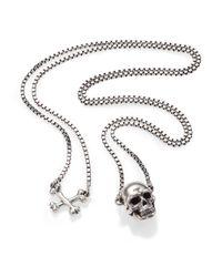 Tateossian - Metallic Sterling Silver Skull Necklace for Men - Lyst