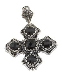 Konstantino | Black Beaded Silver & Onyx Cross Pendant Enhancer | Lyst