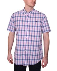 Raging Bull | Pink Voile Check Short Sleeve Button Down Shirt for Men | Lyst