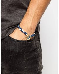 ASOS - Blue Anchor Bracelet With Gold Anchor for Men - Lyst