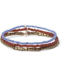 Luis Morais - Blue Madurai Gold And Glass Bead Bracelet Set Of 3 for Men - Lyst