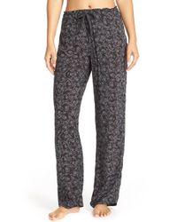 Calvin Klein | Black Print Viscose Pajama Pants | Lyst