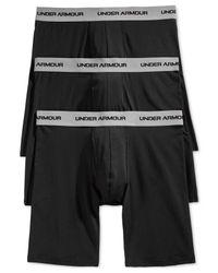 Under Armour | Black Men's Cotton Stretch 9-inch Boxerjocks 3-pack for Men | Lyst