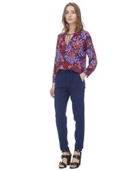 Rebecca Taylor - Purple Flame Of The Forest Print Tie Neck Top - Lyst