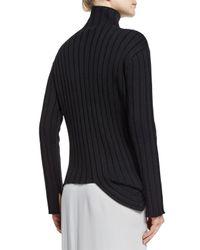 JOSEPH | Black Asymmetric Wool Turtleneck Sweater | Lyst