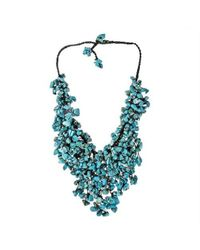 Aeravida | Blue Handmade Turquoise Waterfall Bib Necklace | Lyst