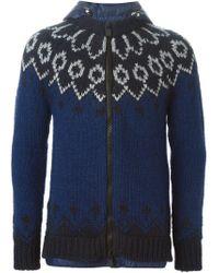 Moncler Grenoble - Blue Padded Hood Knit Jacket for Men - Lyst