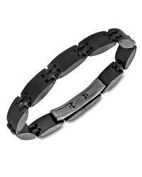 Macy's | Gray Men's Ceramic And Stainless Steel Bracelet, Heavy Black Watch Lock Bracelet for Men | Lyst