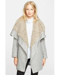 Free People - Gray Faux Shearling Wrap Coat - Lyst