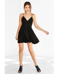 Silence + Noise - Black Buffy Sateen Fit + Flare Dress - Lyst