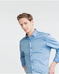 Zara   Blue Classic Twill Shirt for Men   Lyst