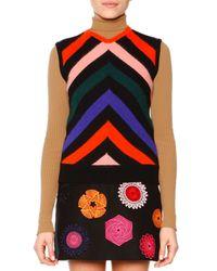 MSGM - Multicolor Sleeveless Chevron-print Knit Pullover - Lyst