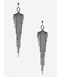 Bebe - Black Fringe Duster Earrings - Lyst