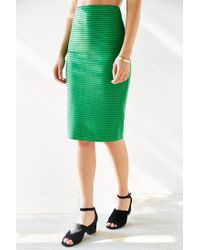 Silence + Noise | Green Revolt Striped Midi Skirt | Lyst