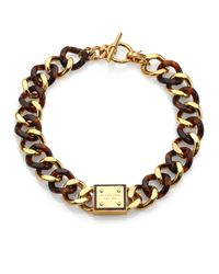 Michael Kors | Metallic Tortoise-print Plaque Toggle Chain Necklace | Lyst