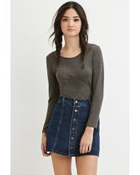 Forever 21 | Gray Stretch Knit Scoop-neck Top | Lyst