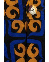 Talbot Runhof - Blue + Printed Stretch-Corduroy Skirt Shorts - Lyst