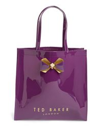 Ted Baker - 'large Plain Bow Icon' Tote - Purple - Lyst