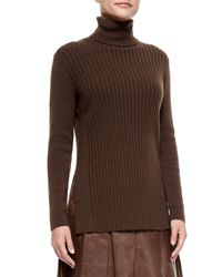Lafayette 148 New York | Brown Cashmere Long-sleeve Turtleneck W/ Side Slits | Lyst