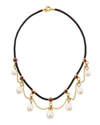 Assael | Metallic Rubystation Pearldangle Necklace White | Lyst