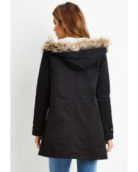 Forever 21 - Black Faux Fur-hooded Parka - Lyst
