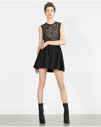 Zara   Black Elastic Waist Mini Skirt   Lyst