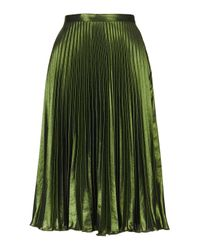 TOPSHOP | Green Foil Pleat Midi Skirt | Lyst