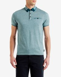 Ted Baker - Blue Color Block Oxford Polo Shirt for Men - Lyst