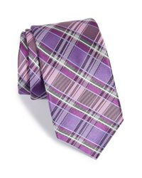 Michael Kors | Purple 'perfect' Plaid Silk Tie for Men | Lyst