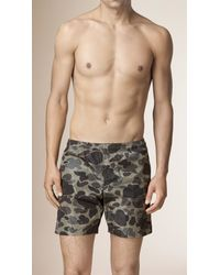 Burberry - Gray Camouflage Print Swim Shorts for Men - Lyst