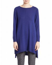 Eileen Fisher | Blue Petite Merino Wool Tunic Sweater | Lyst