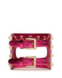 Valentino - Pink Rockstud Cutout Metallic Leather Bracelet - Lyst