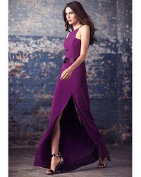 Halston | Purple Asymmetric Crepe Gown | Lyst