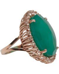Suzanne Kalan | Rose Gold Green Onyx And White Sapphire Ring | Lyst
