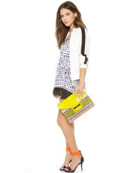 MILLY - Yellow Rich Jacquard Shoulder Bag - Lyst