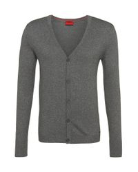 HUGO | Gray Cardigan In A Cotton Blend With Silk And Cashmere: 'scardinus' for Men | Lyst