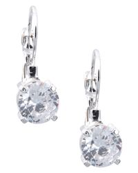 Nine West | Metallic Silver Cubic Zirconia Drop Earrings | Lyst