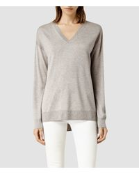 AllSaints | Gray Beck V Neck Jumper | Lyst