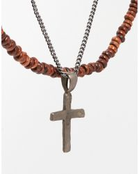 ASOS - Brown Bead And Cross Necklace Pack for Men - Lyst
