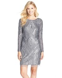 Adrianna Papell | Metallic Beaded Mesh Sheath Dress | Lyst