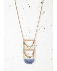 Forever 21 | Metallic Faux Stone Ladder Pendant Necklace | Lyst