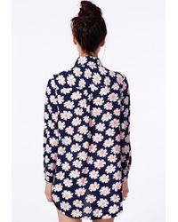 Missguided | Multicolor Simila Daisy Print Boyfriend Shirt | Lyst