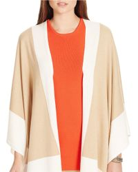 Lauren by Ralph Lauren   Natural Two-toned Poncho   Lyst