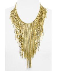 BaubleBar | Metallic 'marrakesh' Fringe Bib Necklace - Antique Gold | Lyst