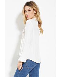 Forever 21 - White Crocheted High-neck Top - Lyst