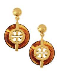 Tory Burch | Brown Tortoise Deco Logo Drop Earrings | Lyst