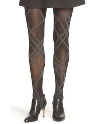 DKNY | Black Plaid Tights | Lyst